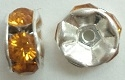 6mm Large Stone Rondelle-TOPAZ/SILVER