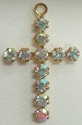 Round Stone Cross-23 x 14mm-CRYSTAL AB/GOLD