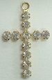 Round Stone Cross-23 x 14mm-CRYSTAL/GOLD