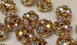 10mm Rhinestone Bead Crystal AB/Gold