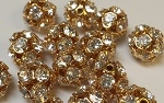 10mm Rhinestone Bead Crystal/Gold