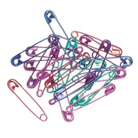 #2 Safety Pins - Assorted Colors - 1 1/2  inch - 50 pieces