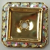 Square Schrag-20mm-CRYSTAL AB/GOLD