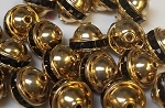 6mm One Row Smooth Bead Jet/Gold