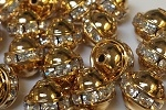 8mm One Row Smooth Bead Crystal/Gold