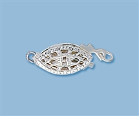 6mm x 15mm Sterling Silver Fishhook Filigree Box Clasp