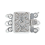 Sterling Silver Heart Filigree Box Clasp - Triple Strand