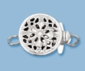 8.5mm Sterling Silver Round Filigree Box Clasp - Single Strand