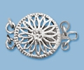 12mm Sterling Silver Round Filigree Box Clasp - Double Strand