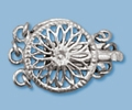 12mm Sterling Silver Round Filigree Box Clasp - Triple Strand
