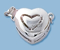 Sterling Silver Heart Shaped Box Clasp - Single Strand