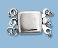 10mm Sterling Silver Plain Box Clasp - Triple Strand