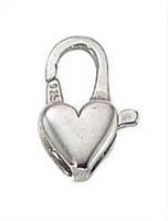 14mm Sterling Silver Heart Lobster Claw Clasp