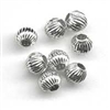 6mm Corrugated Round Sterling Silver Bead - 2mm Hole Size