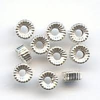 4mm Sterling Silver Corrugated Rondell Bead - 1.5mm Hole Size
