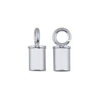 Sterling Silver Tube Endcap with Ring - 4mm