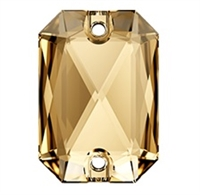 Swarovski 14 x 10mm Emerald Cut sew on- Golden Shadow