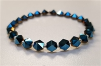 Swarovski 5.5mm Hexagon Spike Bead- Metallic Blue