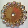Flat Disc with crystals-22mm-CRYSTAL AB/GOLD (DISCONTINUED)