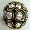 13mm Filigree Rhinestone Bead-ANTIQUE GOLD CRYSTAL AB