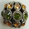 13mm Filigree Rhinestone Bead-ANTIQUE SILVER OLIVINE/TOPAZ