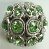 13mm Filigree Rhinestone Bead-ANTIQUE SILVER PERIDOT