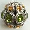 8mm Filigree Rhinestone Bead-ANTIQUE SILVER OLIVINE/TOPAZ