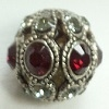 8mm Filigree Rhinestone Bead-ANTIQUE SILVER SIAM/BLACK DIAMOND