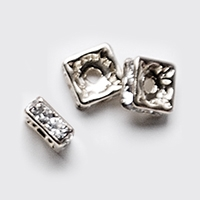 6mm Full Sterling Silver Squaredells- Crystal