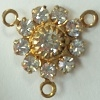 3 Ring Flowerette/Rosary Center-11mm-CRYSTAL/GOLD