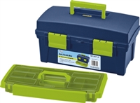 Portable Art Storage Box with Organizer Tray - Green - 16""