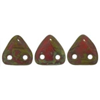 2 hole Triangle Beads-OPAQUE RED PICASSO