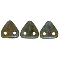 CzechMates 2 hole Triangle Beads-SAPPHIRE COPPER PICASSO