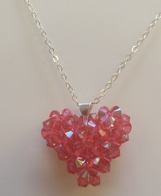4mm Puffy Heart- Indian Pink AB