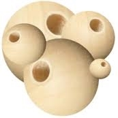 "Unfinished Wood Beads - 16 mm Round, 3/16"" Hole Size"