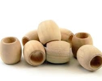Unfinished Wood Beads - 12mm Barrel, 6 mm Hole Size
