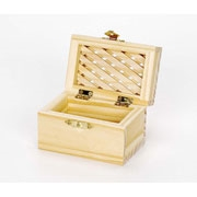 Unfinished Wood Hinged Lattice Topped Box with Clasp - 9177-72