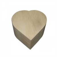 Unfinished Wood Swing Lid Trinket Box - Heart