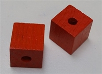 "Wood Cube - 1/2"", 1/8"" Hole - Orange"