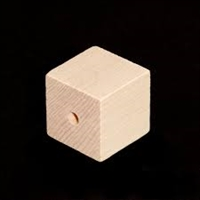"Wood Cube - 1"" with 1/8"" Hole"