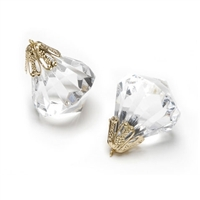 Diamond Gems Crystal Drops with Filigree Bead Cap