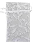 Organza Bags - Leaf Print - White with White