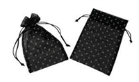 "Organza Bags - Polka Dot - Black with Silver, 3"" X 4"""