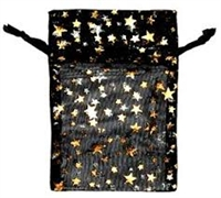 Organza Bags - Star Print - Black with Silver & Gold