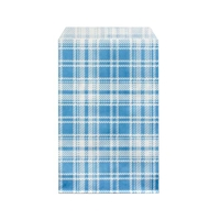 "Printed Flat Paper Shopping Bags - 4"" x 6"", Blue Plaid"