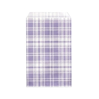 "Printed Flat Paper Shopping Bags - 4"" x 6"", Lavender Plaid"