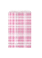 "Printed Flat Paper Shopping Bags - 4"" x 6"", Pink Plaid"