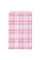 "Printed Flat Paper Shopping Bags - 5"" x 7"", Pink Plaid"