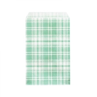 "Printed Flat Paper Shopping Bags - 6"" x 9"", Green Plaid"