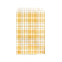 "Printed Flat Paper Shopping Bags - 6"" x 9"", Orange Plaid"
